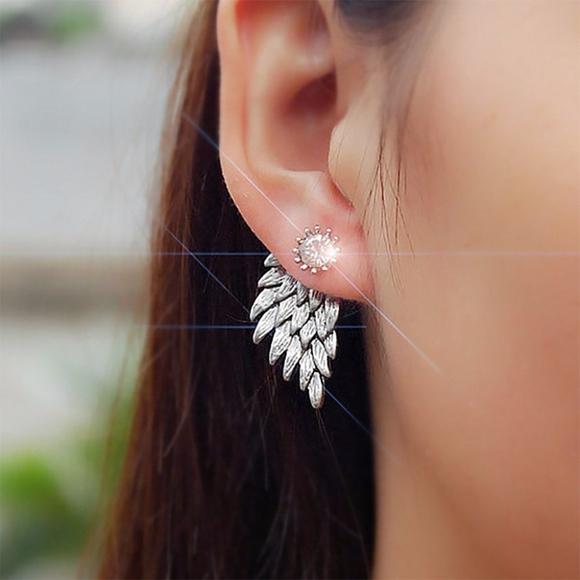 5bdc81648 Jewelry   Silver Angel Wings Ear Jacket Crystal Studs   Poshmark